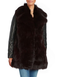 Leather trimmed fox fur coat medium 1213701