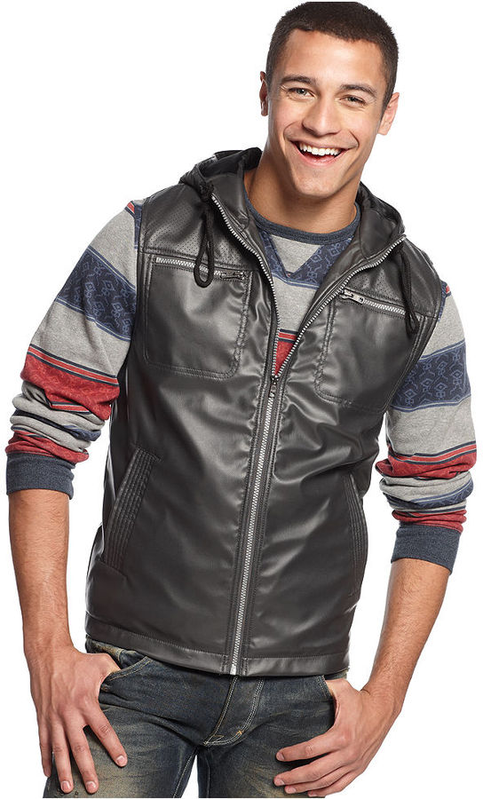 Bar Iii Faux Leather Hooded Vest