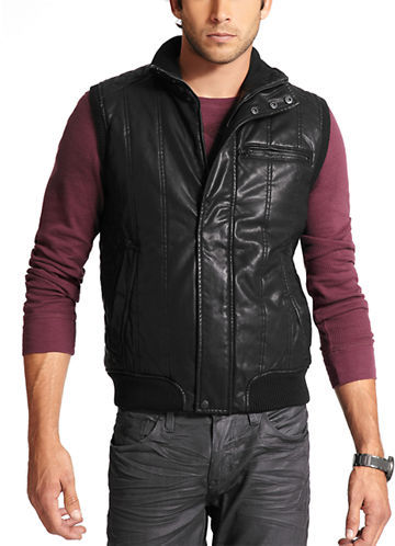 GUESS Faux Leather Quilted Vest | Where to buy & how to wear : leather quilted vest - Adamdwight.com