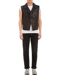 Barneys New York Multi Zip Leather Moto Vest