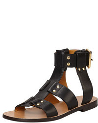 Black Leather Gladiator Sandals