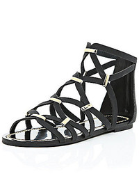 River Island Black Gladiator Sandals
