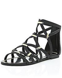River Island Black Gladiator Sandals