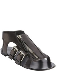 Giuseppe Zanotti Black Leather Zip Front Strappy Flat Sandals