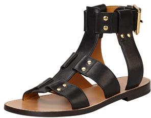 56b7a54c0 ... Chloé Chloe Flat Studded Leather Sandal Black ...