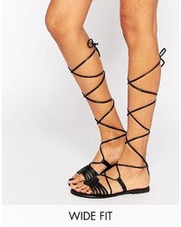 b37896ff8 Women's Black Leather Gladiator Sandals by Asos | Women's Fashion ...