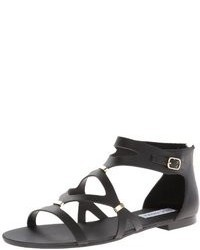 2a9ed6735ff Women s Black Leather Gladiator Sandals by Steve Madden