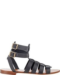 Barneys New York Double Buckle Gladiator Sandals Black Size 5