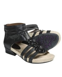 Earthies Eviya Gladiator Sandals Leather Black Calf