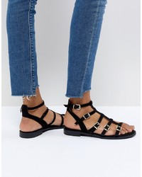 cc57893625bc Faith Julian Black Flat Gladiator Sandals