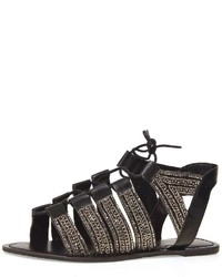 Dorothy Perkins Leather Black Skyla Ghillie Sandals