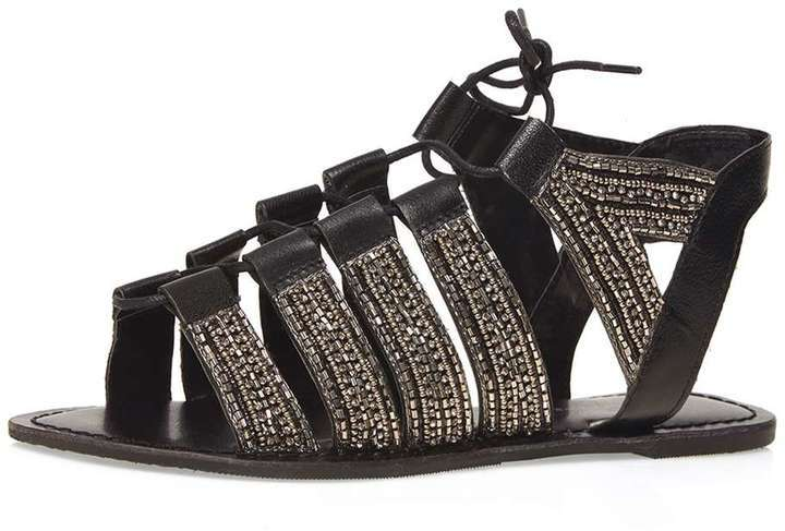 b544504c237b ... Dorothy Perkins Leather Black Skyla Ghillie Sandals ...