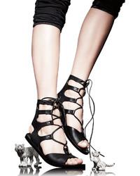 c77bf32ca106 ... Vince Niva Leather Lace Up Flat Gladiator Sandal Black