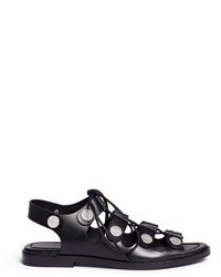 Alexander Wang Patricia Rivet Lace Up Leather Flat Sandals