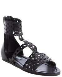 replica prada luggage - Women's Black Leather Flat Sandals from Bluefly | Lookastic for Women