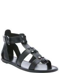 AERIN Rin Black Leather Eliza Studded Gladiator Sandals