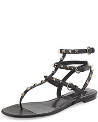 Valentino Garavani Rockstud Noir Flat Thong Sandal Noir
