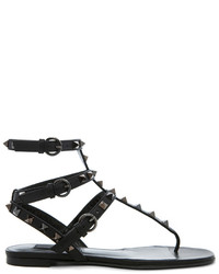 Valentino Rockstud Noir Gladiator Leather Sandals T05