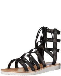 12b98c46e082 Women s Black Leather Gladiator Sandals by Steve Madden