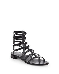 Stuart Weitzman Csar Metallic Leather Gladiator Sandals