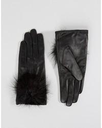 Aldo Leather Gloves With Faux Fur Pom