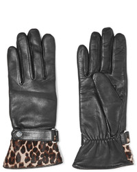 Agnelle Alexa Leopard Print Calf Hair Trimmed Leather Gloves