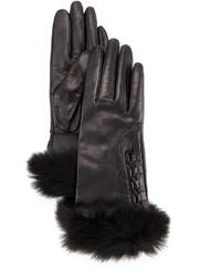 UGG Analise Leather Gloves Wfur Trim
