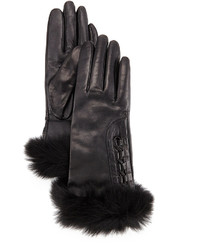 UGG Analise Leather Gloves Wfur Trim