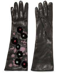 Valentino Appliqud Embellished Leather Gloves Black
