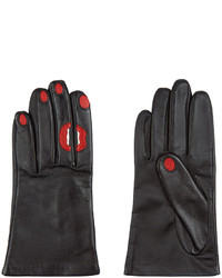 Aristide Black Leather Red Lips Nails Gloves