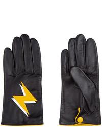 Aristide Black Lightning Bolt Leather Gloves