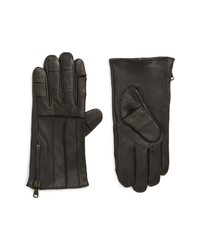 John Varvatos Star USA Articulated Zipper Leather Gloves