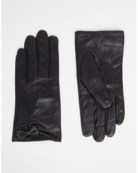 Asos Collection Leather Gloves With Small Bow Detail And Touch Screen