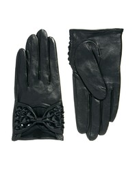 Asos Leather Embellished Bow Gloves