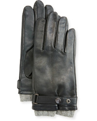 Neiman Marcus Belted Leather Tech Gloves Black