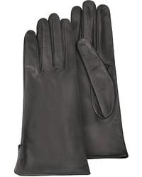 Forzieri Black Calf Leather Gloves W Silk Lining