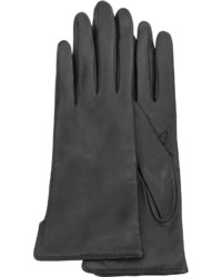 Forzieri Black Cashmere Lined Italian Leather Gloves