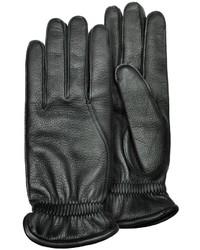 Pineider Black Deerskin Leather Gloves W Cashmere Lining