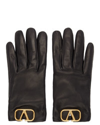 Valentino Black Garavani Leather Vlogo Gloves