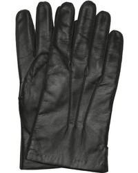 Portolano Black Leather And Lambswool Lined All Tech Gloves