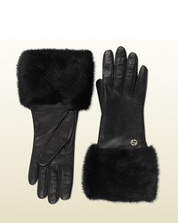 Gucci Black Leather And Mink Gloves