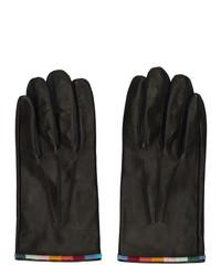 Paul Smith Black Leather Artist Stripe Gloves