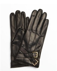 Portolano Black Leather Cross Buckle Nappa Gloves