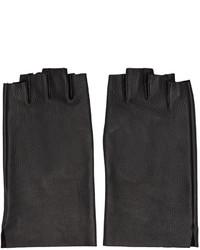 Black leather fingerless gloves medium 774299