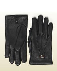 Gucci Black Leather Glove