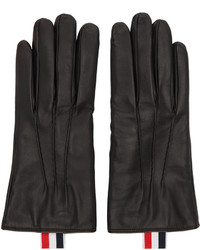 Thom Browne Black Leather Gloves