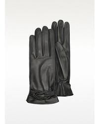 Forzieri Black Leather Gloves W Knot