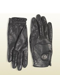 Gucci Black Leather Gloves With Crest From Equestrian Collection