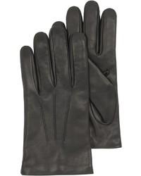 Forzieri Black Leather Handmade Gloves Wwool Lining