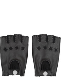 Marc by Marc Jacobs Black Leather Knit Fingerless Gloves